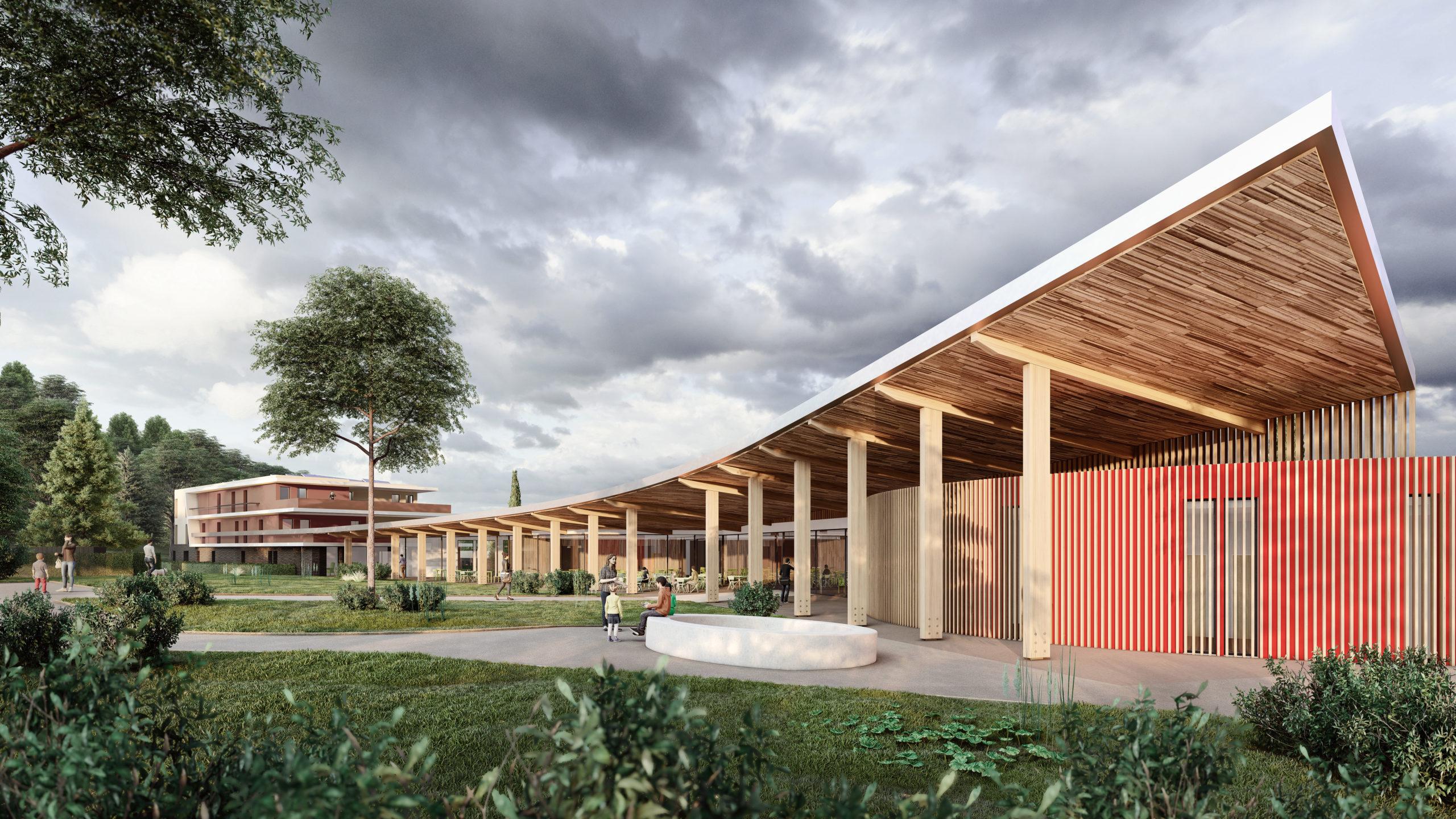 Esquisse du futur complexe thermal Les Fumades dans le Gard (©Agence Coste Architectures)